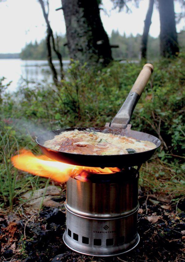 Stabilotherm - Jägarstekpanna Original - Poêle à frire + wood stove stack